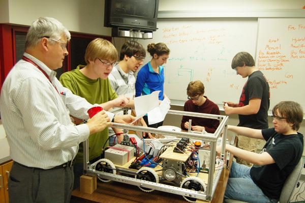 Students collaborate to build robots