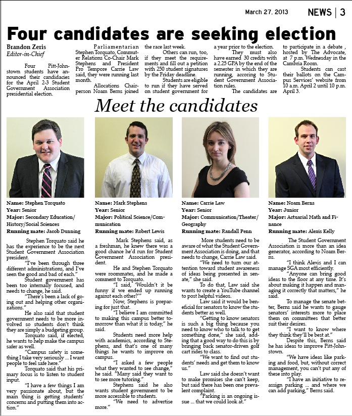Four candidates are seeking election