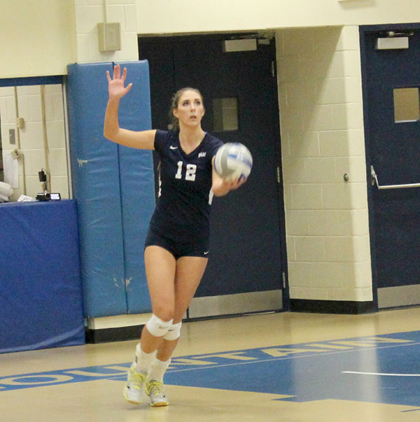 Sophomore+middle+hitter+Kendall+Mahony+had+15+kills+Saturday+in+a+3-0+win+against+Kutztown+University.