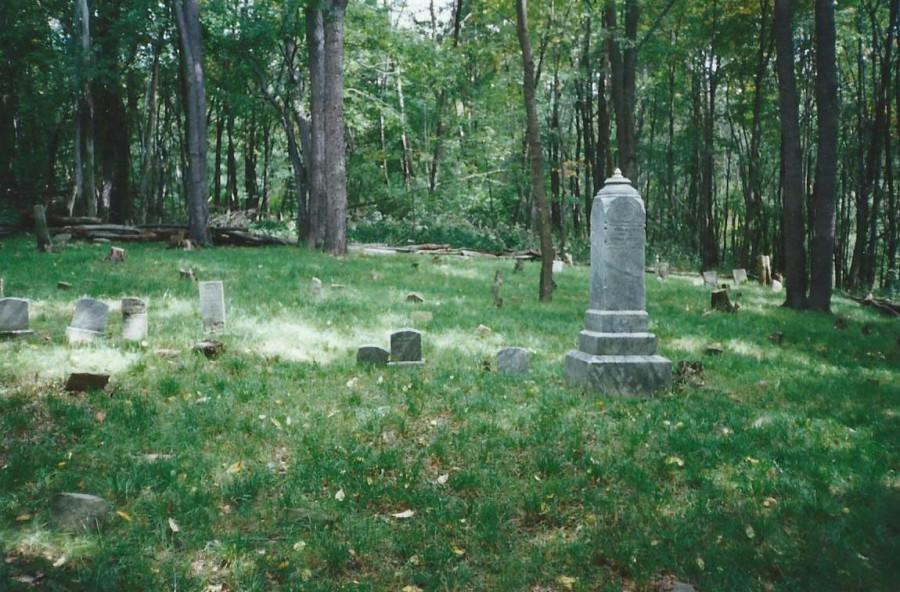 A photo of the Baumgardner Cemetary located in the woods behind the Wellness Center.