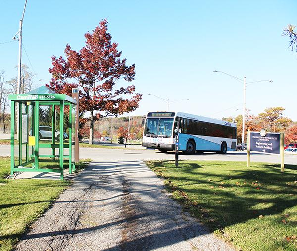 One of the CamTran bus stops between the Pasquerilla Performing Arts Center and the Living/Learning Center.