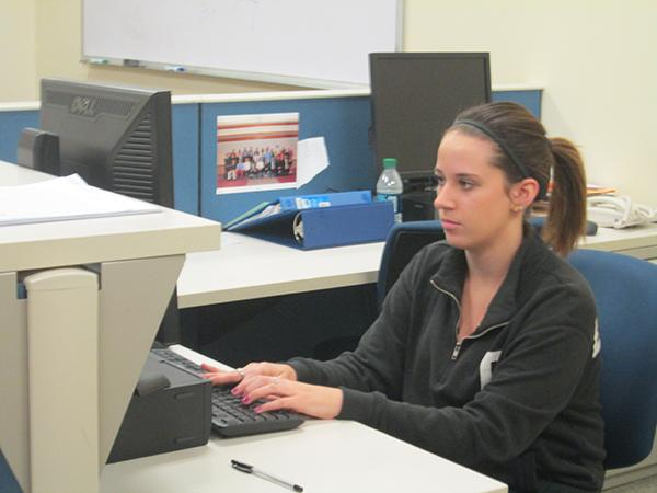 Student government Allocations Co-Chair Shannon Davis works in the Student Government office.