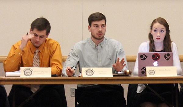 Left to right, Student Government Association Vice President Nicholas DiGiorgio, President Kyle Maguire and Secretary Casey Ansbro at last Tuesday's association meeting.