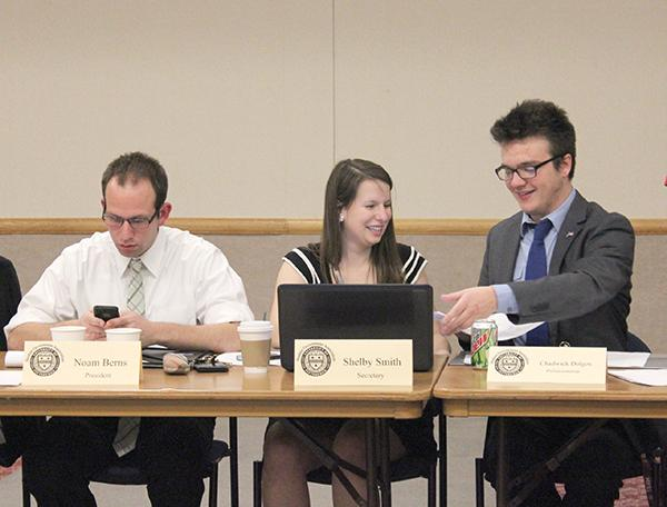 Former students Noam Berns, Shelby Smith and Chadwick Dolgos attend a Student Government Association meeting in April of 2014.
