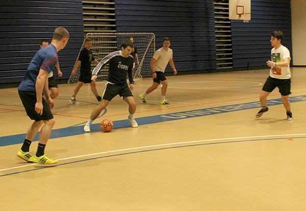 Students play in an intramural soccer game Thursday night in the Sports Center. Playing left to right are freshman Haven Mackie and Dj Vogelman with sophomores Colton Demberger and Alex Linardi.