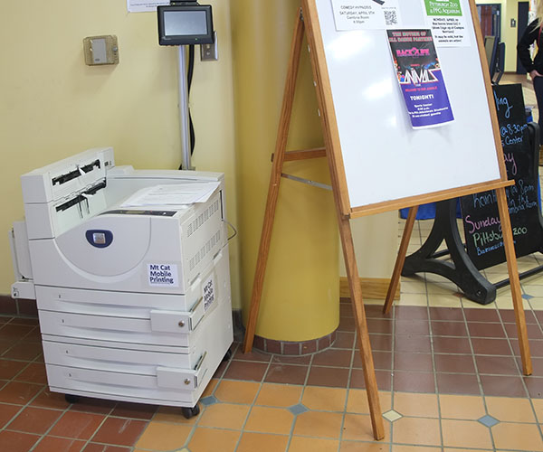 The wireless printer is now operational in front of the Student Union's information desk.