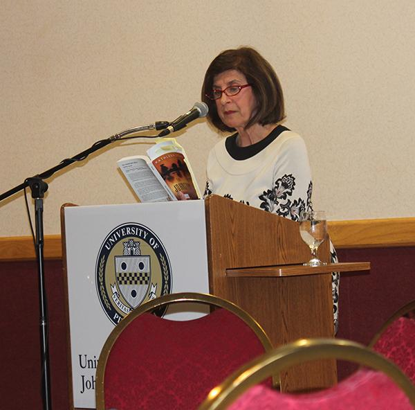 Novelist Kathleen George speaks at the Western Pennsylvania Undergraduate Literatures Conference.