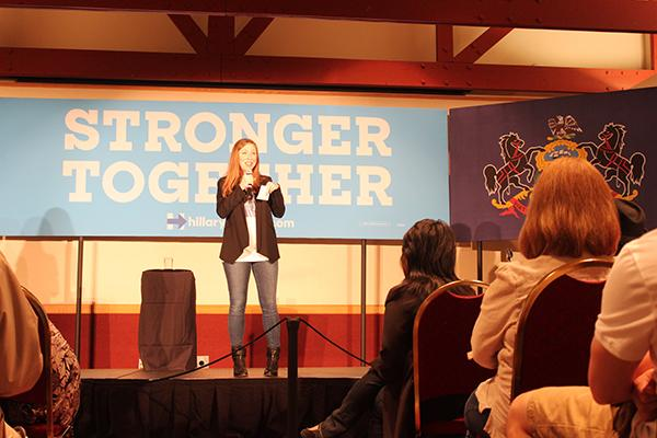 Former first daughter Chelsea Clinton encourages questions from audience members.