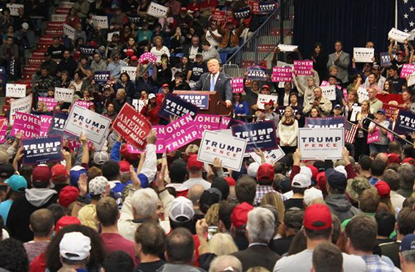 Trump addresses a crowd of approximately 1,600 Friday at Johnstown's Cambria County War Memorial Arena about his thoughts on ISIS handling.