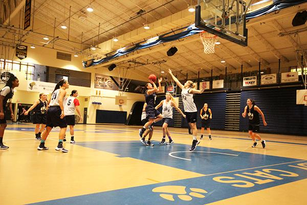 The women's basketball team at practice Friday night before their Nov. 11 season start.