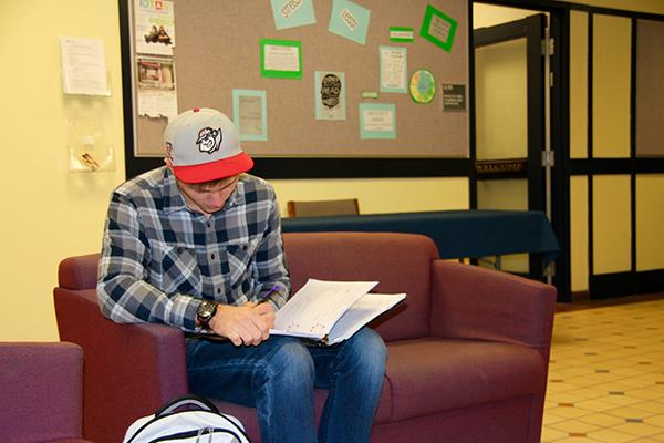 Sophomore Michael Gross studies outside the Cambria Room in the Student Union.