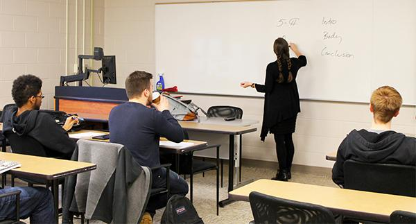 Professor Marissa Landrigan teaches her Creative Nonfiction course on Friday in 208 Biddle Hall.