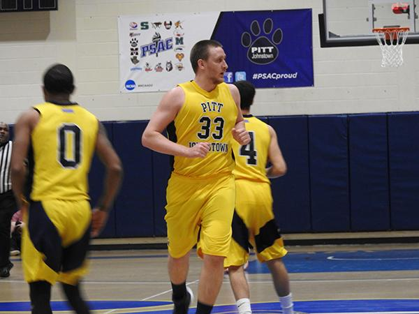 Mountain Cat A.J Leahey runs down the court after scoring during a Mountain Cat win.