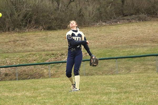 Pitt-Johnstown sophomore outfielder Morgan Cannin throws a ball into the infield during a game last year at Richland's high school softball field against Mansfield University.