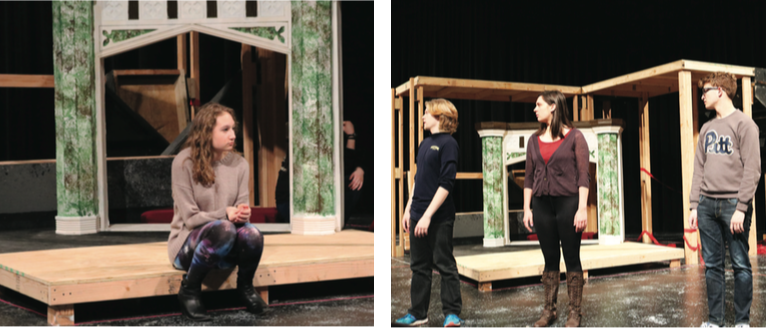 %28left+to+right%29+Sophomore+Carolyn+Zeis+sits+in+front+of+a+prop+fireplace+during+a+play+practice+Wednesday+in+the+Pasquerilla+Performing+Arts+Center%E2%80%99s+blackbox+theater.++Sophomore+Patrick+Cadden%2C+freshman+Emma+Adams+and+sophomore+Sam+Miller+practice+a+scene+from+this+year%E2%80%99s+play+%E2%80%9CFortinbras.%E2%80%9D