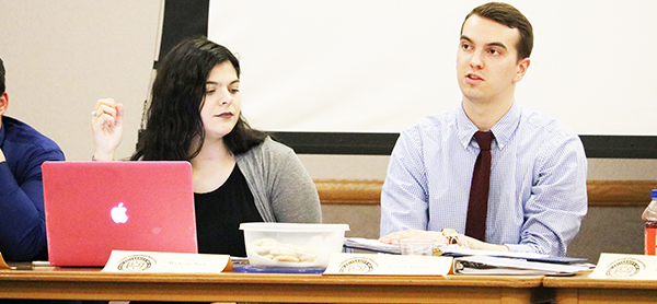 At a March 28 student government meeting, Treasurer Joe Evanko and President Pro Tempore Madison Nick presented the 2017-2018 budget for clubs and organizations. Student government members approved the budget.