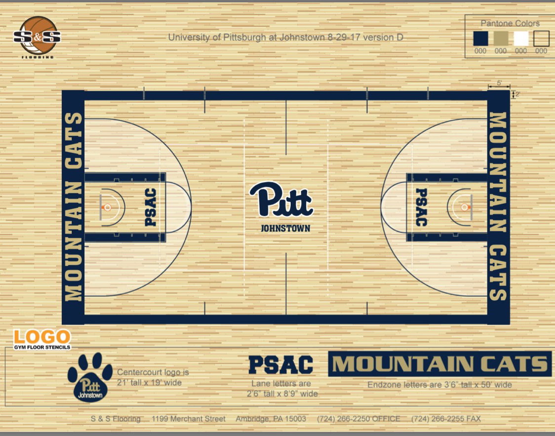 The Pitt-Johnstown sports center renovation is planned to start on Sept. 25. The composite floor will be covered by a hardwood surface.
