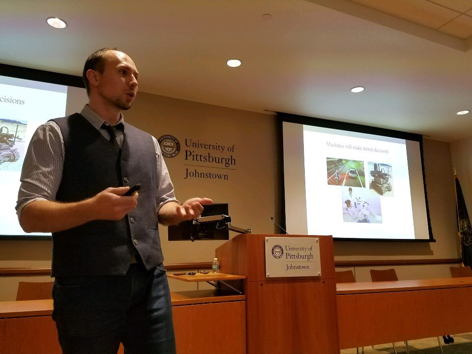 "Derek Leben gives a presentation about his book, ""Ethics for Robots: How to Design a Moral Algorithm,"" Oct. 18 in the John P. Murtha Center."
