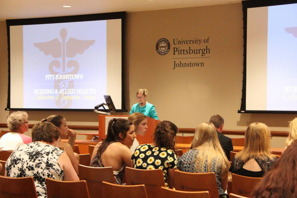 Retired Army Lt. Gen. Patricia D. Horoho delivers her keynote speech to Pitt-Johnstown students and faculty at the Nursing and Allied Health Celebration Innovation Forum Sept. 25 at the John P. Murtha Center.
