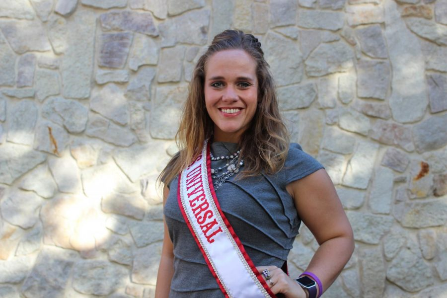 Kristina+Marinkovich%2C+Pitt-Johnstown%E2%80%99s+international+student+services+coordinator%2C+poses+while+wearing+her+Ms.+Universal+sash.+She+was+crowned+Sept.+8+in+London.+