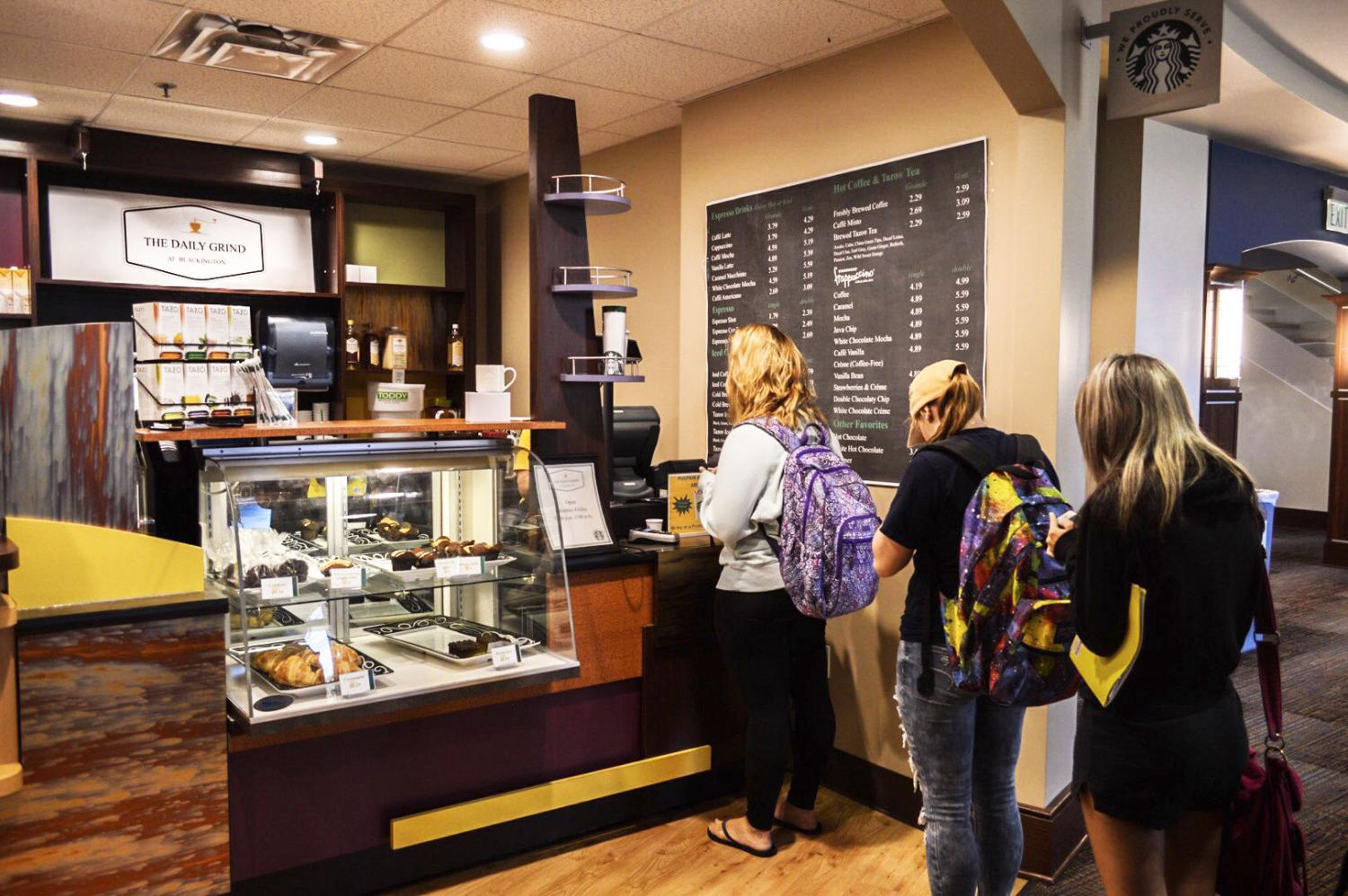 Students wait in line at The Daily Grind, a new food and coffee stop that replaced Biddle Hall's Jazzman's this semester. The stop is in Blackington Hall's first floor.