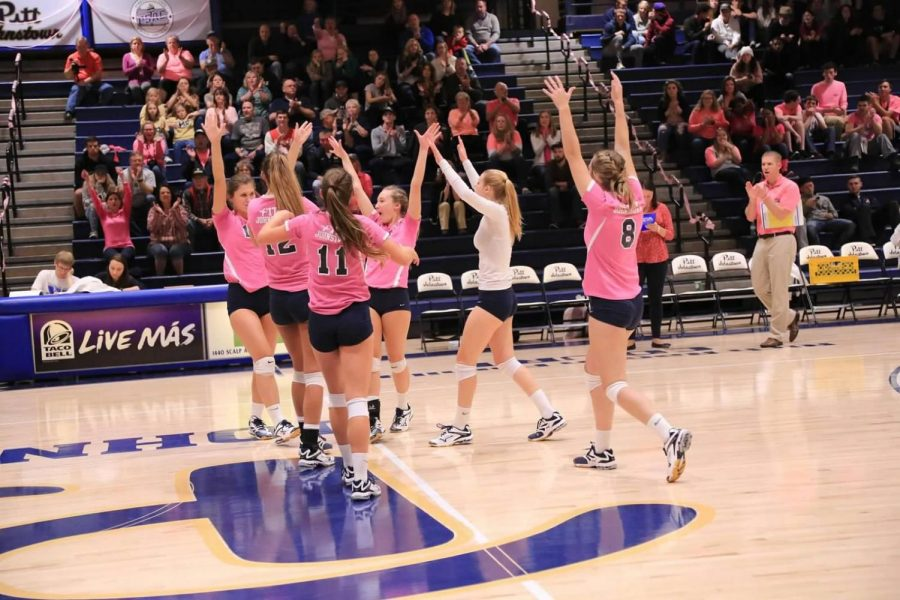 Pitt-Johnstown volleyball members celebrate an ace against California (Pa.) Friday night in their annual dig pink game. The Mountain Cats won 3-1, to improve to 20-6 overall and 10-3 in the conference.