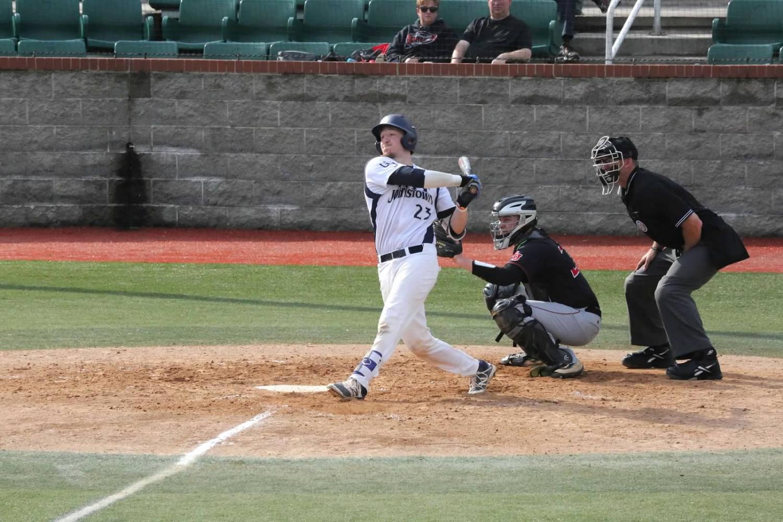 Pitt-Johnstown junior catcher, Scott Thompson swings at a pitch against California (Pa.) University last year at Point Stadium.