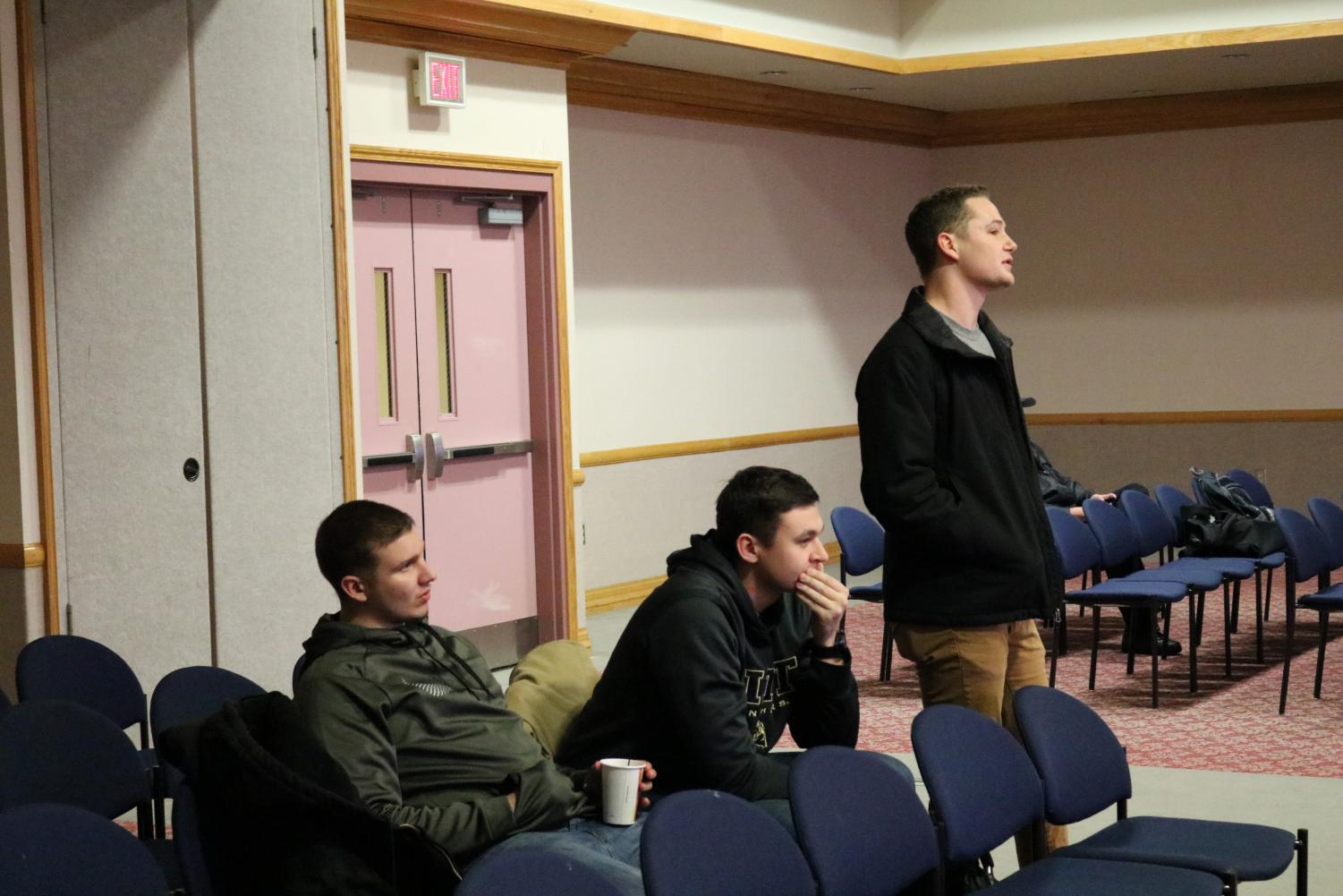 Kappa Delta Rho brothers (left-right) Carmen Spica, Tyler Holland and Scott Strain attend a Jan. 16 student government group night.