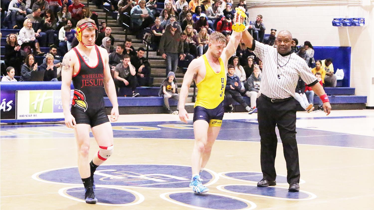 Senior wrestler Cody Law was victorious after a bout last weekend at the Sports Center.