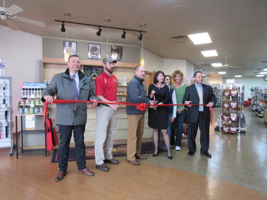 Johnstown pet store Fetch-N-Go's ribbon was cut March 7 by (left to right) Richland Township Supervisor Bob Heffelfinger, co-owners Nathan Jamison and Keith Hay, Cambria Regional Chamber president Amy Bradley, sales associates Michele Maculewicz and Christie Hynicka, as well as County Commissioner Tom Chernisky.