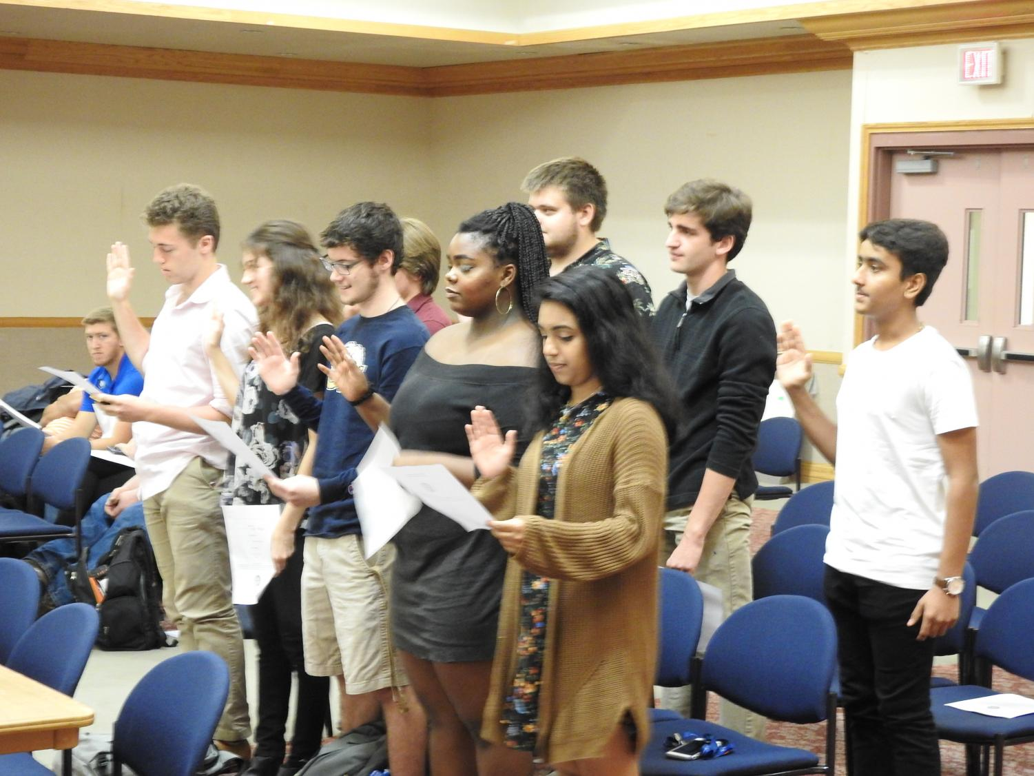 Nine freshmen senators were sworn into student government committees at a Sept. 17 student government meeting after having been elected by Pitt-Johnstown students services.