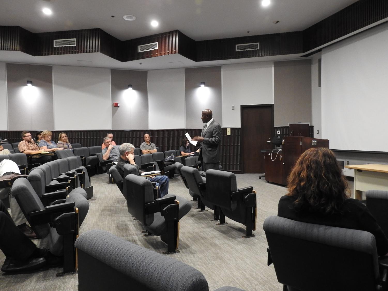 Pitt-Johnstown President Jem Spectar addresses Faculty Senate members Sept. 19.