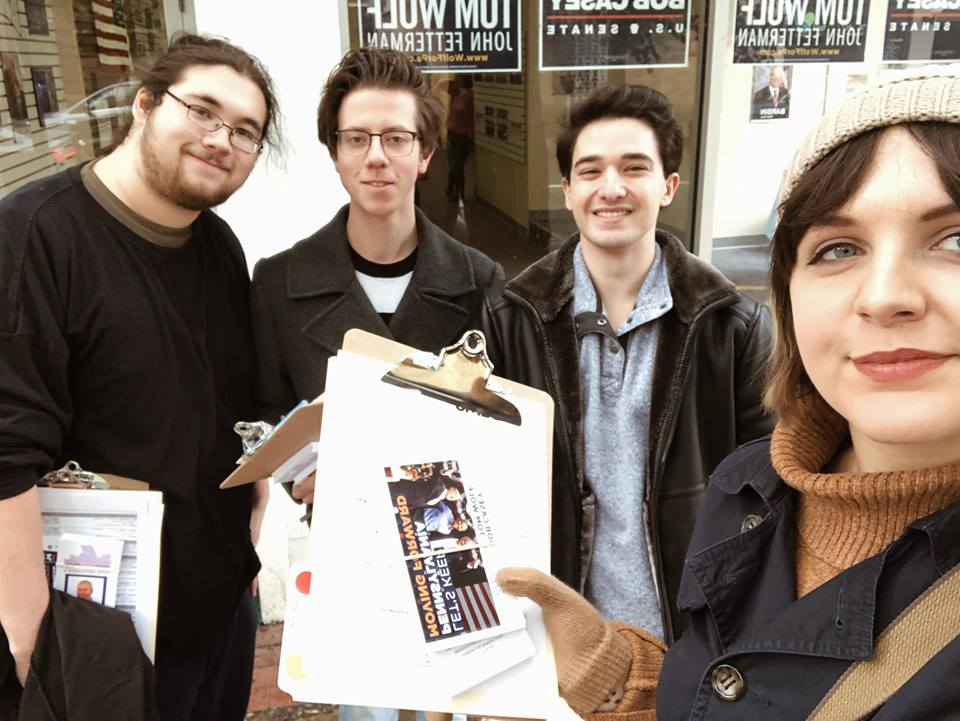 College Democrat members (left to right) Chris Houston, Tom Reed, Matt Chasmar and Molly Verostick visited Johnstown voters last month.
