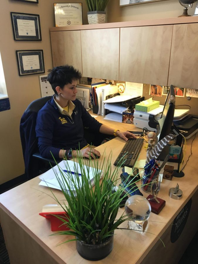 New Assistant Athletic Director Abby Gearhart is working Friday in her Wellness center office. | Photo: Justin  Schmithorst