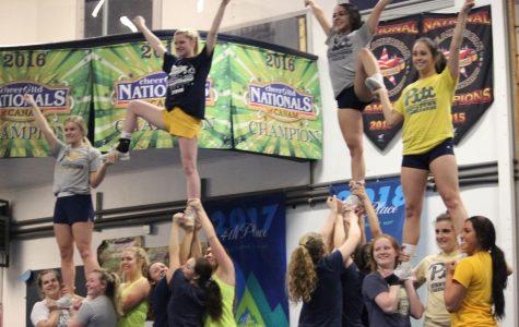 Cheerleaders preparing for Florida