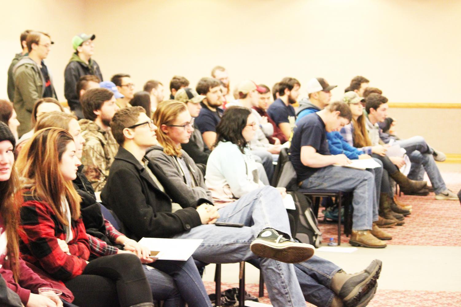 About 50 students attended a Feb. 11 student government meeting in the Student Union's Cambria Room. Emergency allocation guidleines were amended during the meeting, despite concerns from those in attendance.