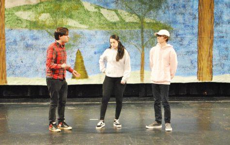"""Senior Benjamin Berkebile (left), junior Renee Riley (center) and junior Jarod Shark (right) rehearsed last Wednesday for """"A Midsummer Night's Dream."""""""