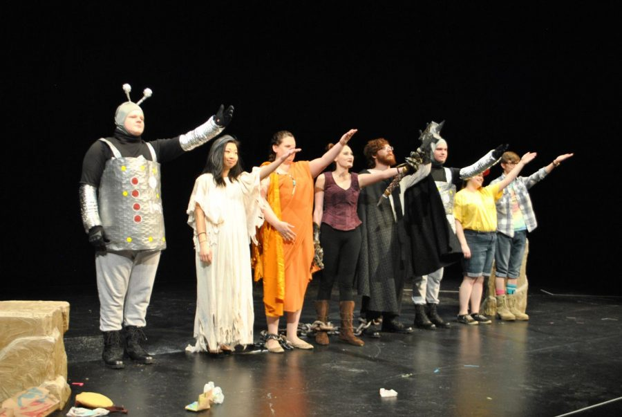 """Performers of the Golgonooza show """"Percept: Love"""", written by John Berret-Fornoff, receive applause at the end of their show Thursday."""
