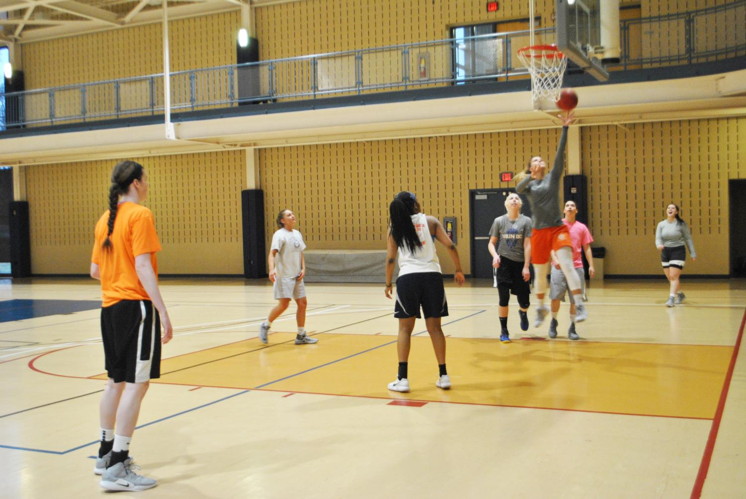 The women's basketball team held a pick-up practice March 21 at the Wellness Center.