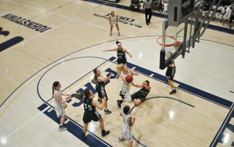 Gabbie Smith (center) scored 19 points, against Mercyhurst University Feb. 27 at the Sports  Center.