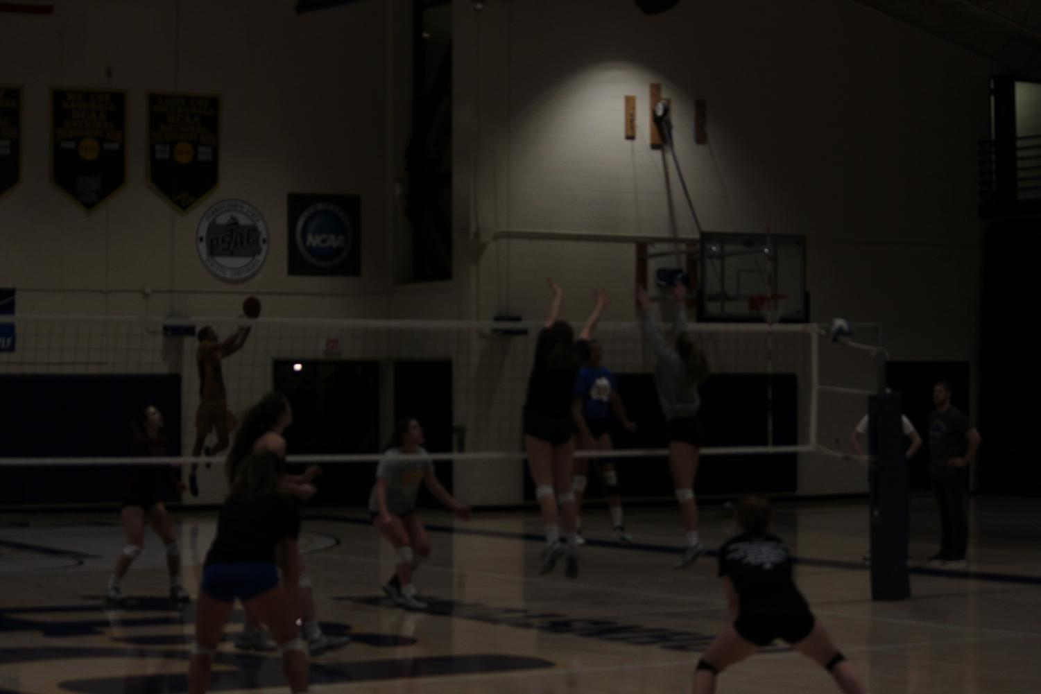 The Pitt-Johnstown women's volleyball team training March 27 in the Wellness Center.