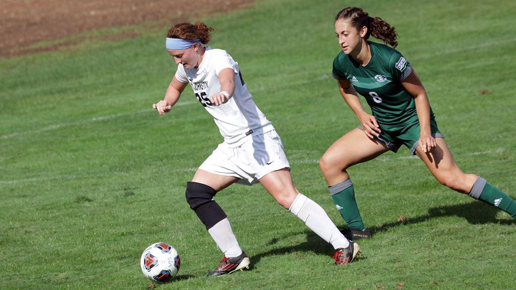Abby LaDuke (left) lead Pitt-Johnstown women's soccer to a 5-1 win against Clarion University Sept 18 at the Pitt-Johnstown soccer field.