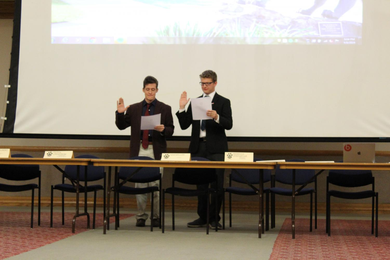 Student government President Devin Seiger was sworn into power by former president Sam Miller in the spring.