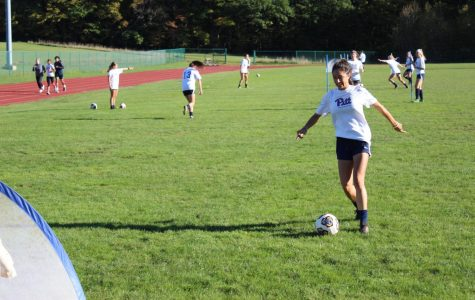 Junior Pitt-Johnstown's women soccer player Kim Mixon was practicing Oct. 11 on the Pitt-Johnstown soccer field.