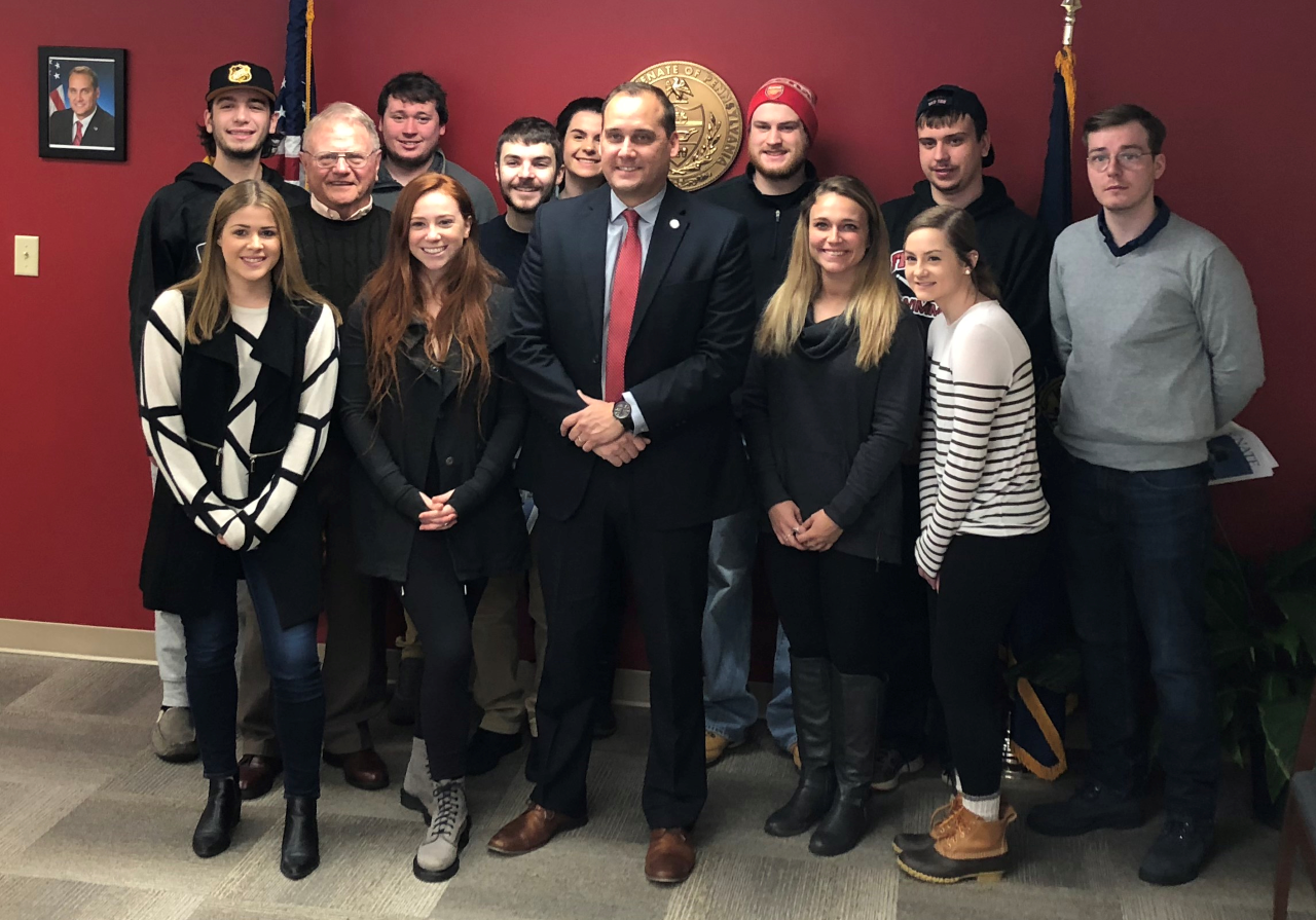 State Sen. Wayne Langerholc gave a lecture to professor William Kory's Political Geography class.