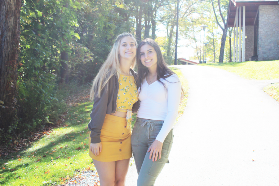 Freshman Katy Lynch (left) wore a yellow top to match her mustard skirt, and sophomore Lauren Lynch (right) wore a white top with army green pants Oct. 11.