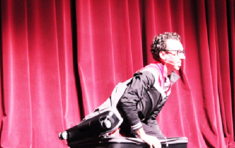 "Johnstown native Jonathan Burns, who appeared on this past season of ""America's Got Talent"" performed at the Pasquerilla Performing Arts Center Sunday. Burns was wheeled out onto the stage by Pasquerilla Performing Arts Center Executive Director Michael Bodolosky in a suitcase."