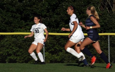 Pitt-Johnstown's Brooke Vollmer waits during a Sept. 28 game against Indiana (Pa.) at the Pitt-Johnstown Soccer field; Pitt-Johnstown won the game 2-0.