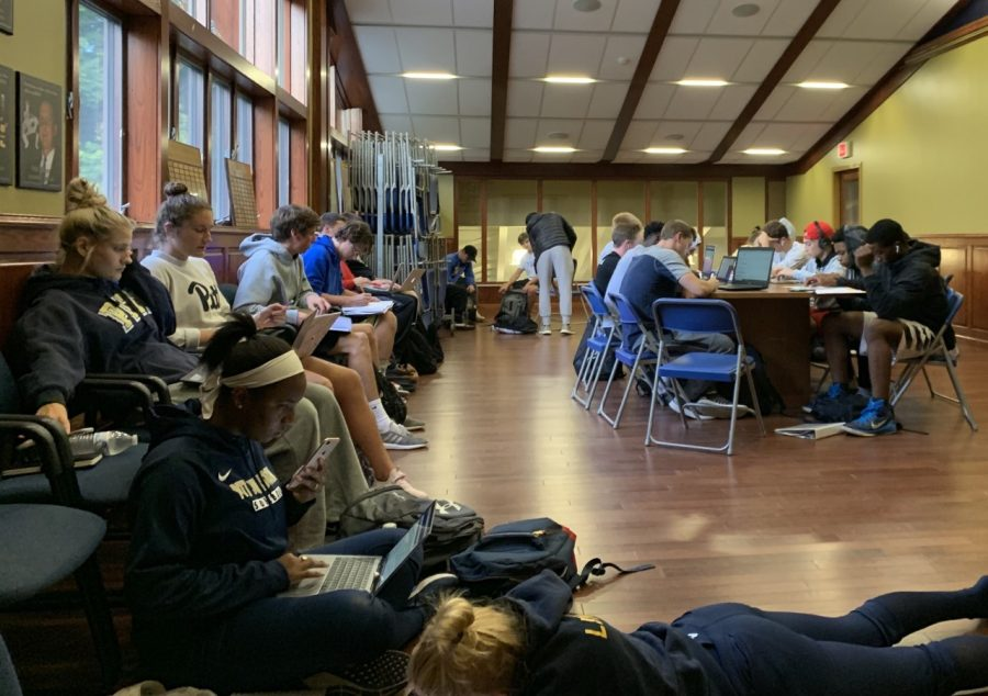 Student-athletes get academic help Sept. 24 during an athletics study hall on the Sports Center's second floor.