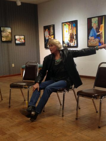 "Artist Heather Davis speaks at her exhibition ""The Gift of Color"" at the Community Arts Center of Cambria County Jan. 25.  Her exhibit is to be on display until Feb. 28."